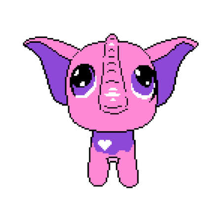 Pixel elephant. Beautiful cartoon pink elephant with big eyes. Ilustração