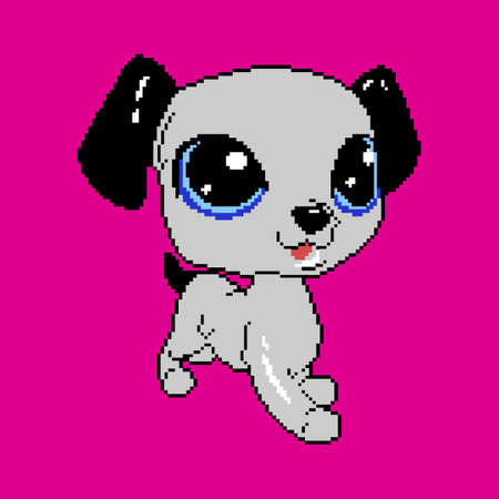 Pixel dog. Cartoon beautiful puppy with big eyes.