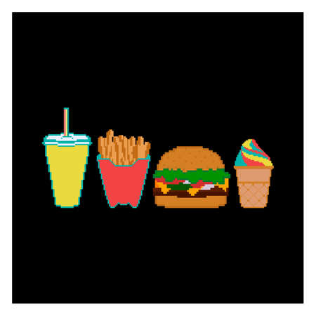 Pixel fast food and beverage icon collection. 8 bit design