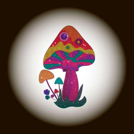 Hallucinogenic mushrooms icon. Magic mushroom vector illustration.