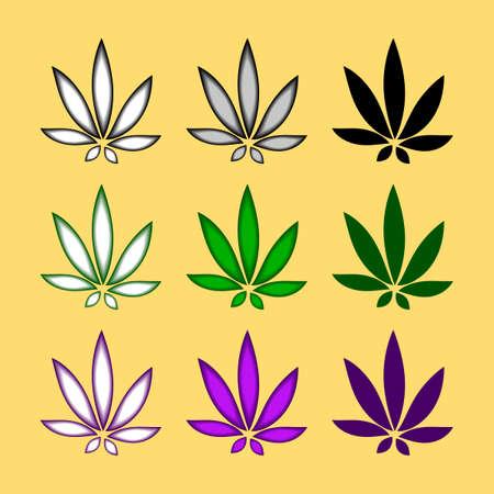 Set of marijuana or cannabis icon. Plant leaf vector illustration.