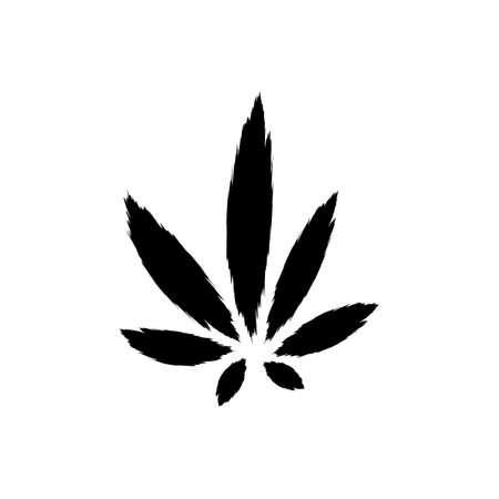 Marijuana or cannabis black and white icon. Plant leaf vector illustration.