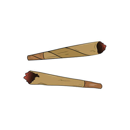 Marijuana joint or spliff. Medical marijuana rolled cigarette. Ilustrace