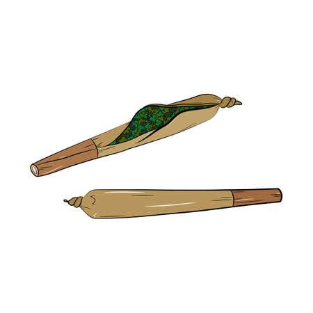 Marijuana joint or spliff. Medical marijuana rolled cigarette. Ilustração
