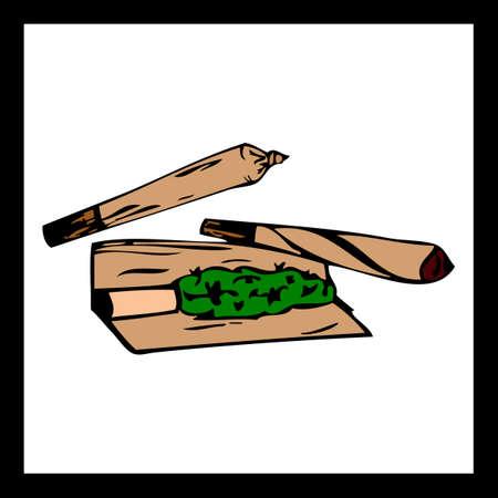 Marijuana joint or spliff. Medical marijuana rolled cigarette. Illustration