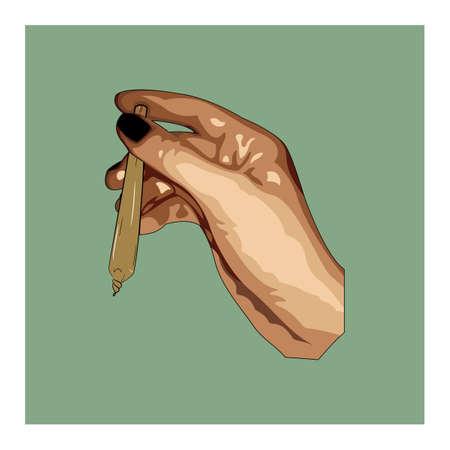 Hand holding marijuana joint. Medical marijuana rolled cigarette.