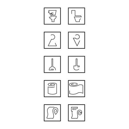 Simple set of toilet icons. Vector outline hygiene icon set. Ilustração