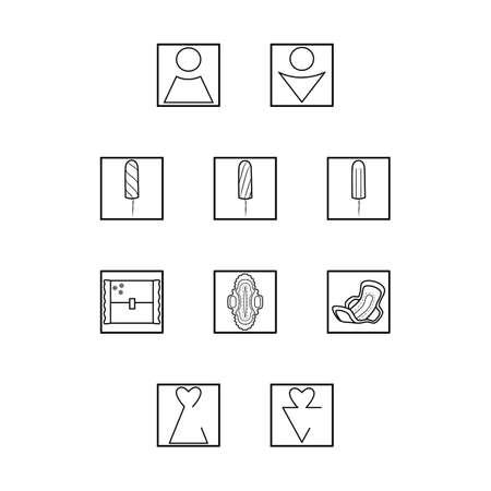 Simple set of hygiene icons. Vector women hygiene pads set. Feminine pads and toilet icons. Ilustração