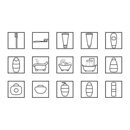 Simple set of hygiene icons. Vector bathroom icon set.