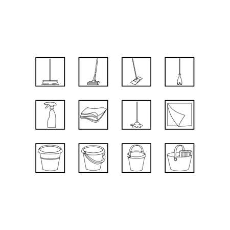 Set of cleaning tools. Black and white vector line icons. Ilustração