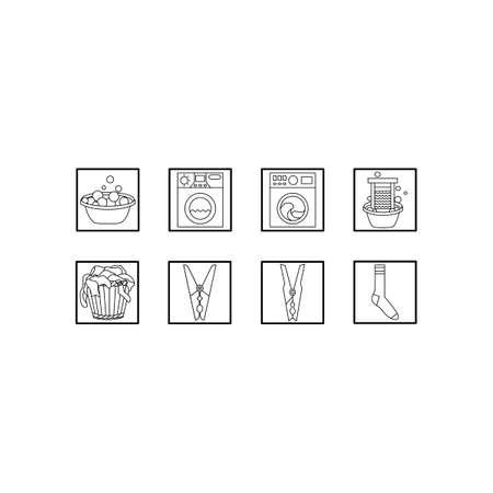 Laundry icon set. Black and white vector line icons. Ilustração