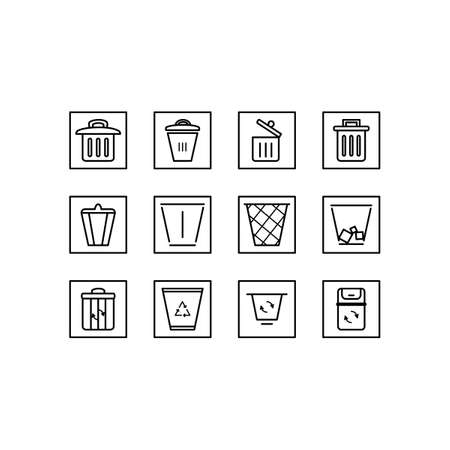 Recycle icon set. Black and white vector line icons. Trash bin set.