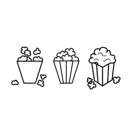 Black and white popcorn line icon set. Sweet or salty corn. Ilustração