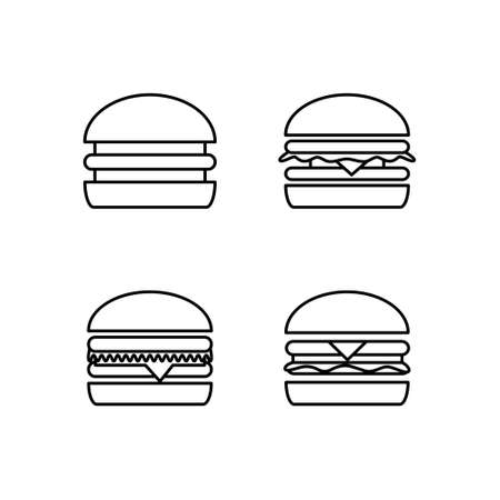Fast food set. Black and white burger icon.