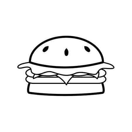 Black and white burger icon. Ilustração