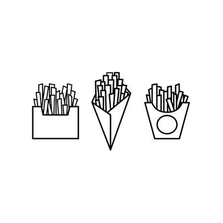 Black and white french fries icon set. Potatoes Ilustração