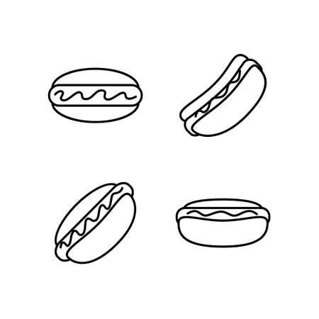 Black and white hot dog icon set. Sausage donut. Ilustração