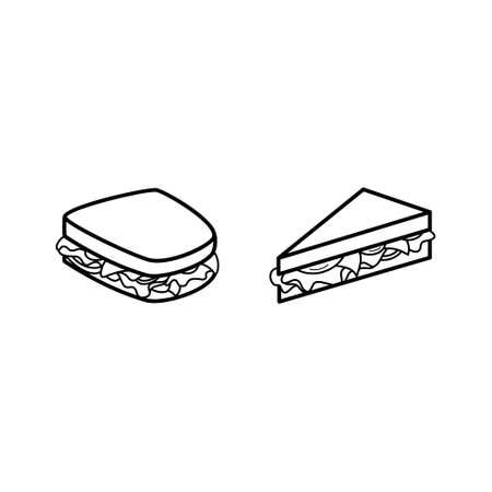 Sandwich line icon set. Black and white icon.