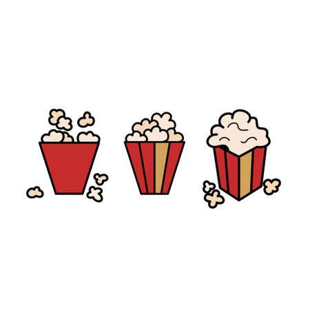 Popcorn icon set. Sweet or salty corn.