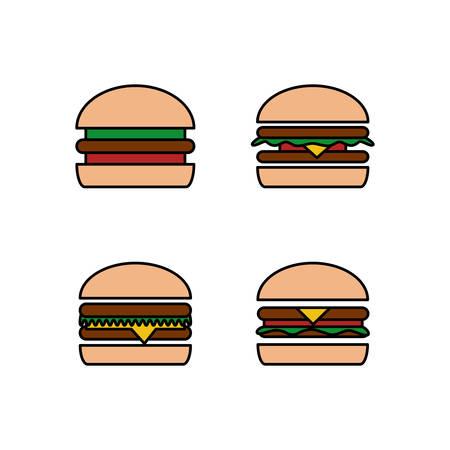 Fast food icon set. Burger, hamburger or cheeseburger
