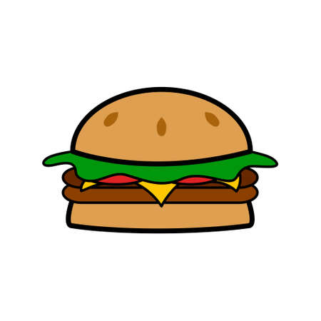 Burger icon. Burger, hamburger or cheeseburger. Ilustração