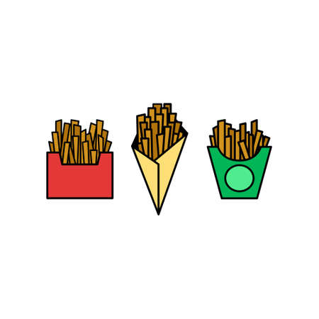 French fries icon set. Potatoes in carton package box.
