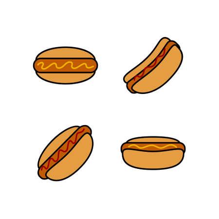 Hot dog icon set. Sausage donut.