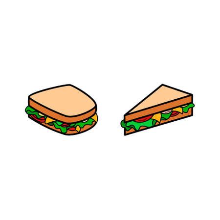 Sandwich icon set. White background. Ilustração