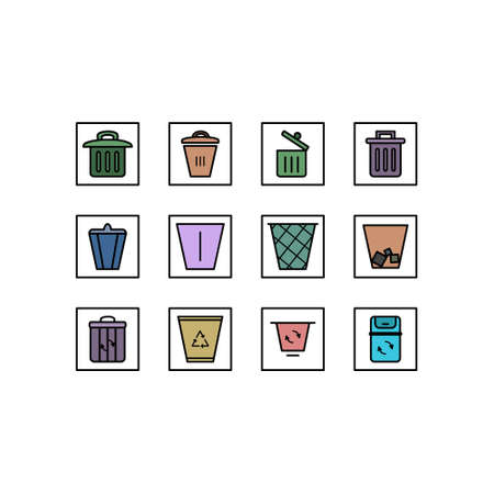Recycle icon set. Vector line icons. Trash bin set on white background.