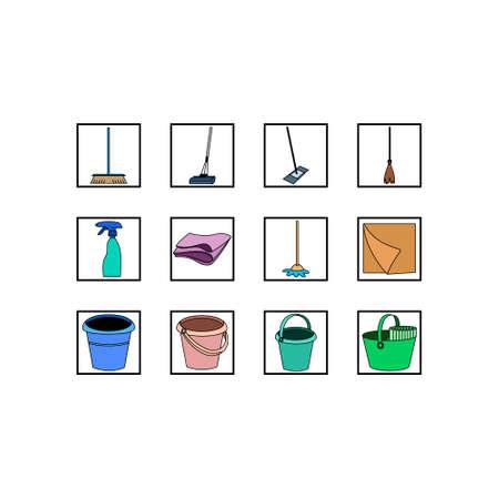 Set of cleaning tools. Vector line icons on white background. Ilustração