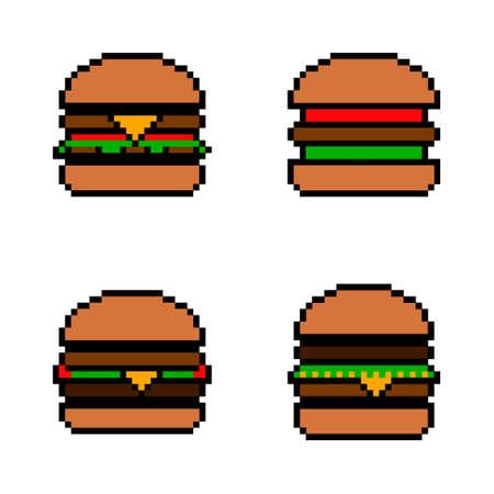 Pixel icon. Fast food icon set. Pixelated burger, hamburger or cheeseburger logo.