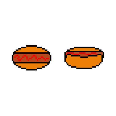 Pixel icon. Hot dog icon set. Sausage donut. Pixel fast food logo.