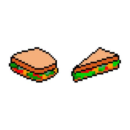 Pixel icon. Sandwich icon set. Fast food logo. White background.