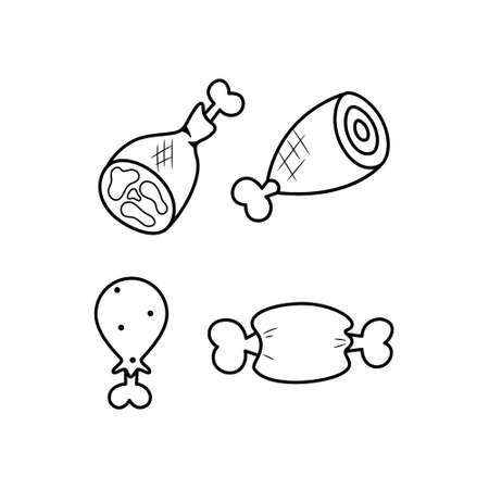 Black and white meat line icon set. Food logo. Ilustração