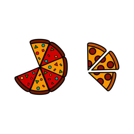 Pizza icon set. Fast food logo. White background.