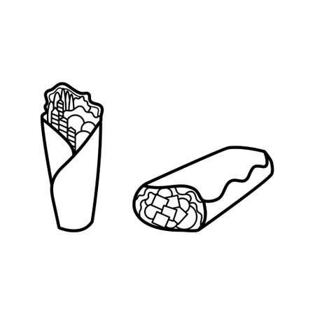 Black and white kebab line icon set. Shawarma, wrap or doner icon. Fast food logo. Ilustração