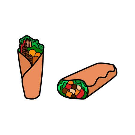 Kebab icon set. Shawarma, wrap or doner icon. Fast food logo on white background.