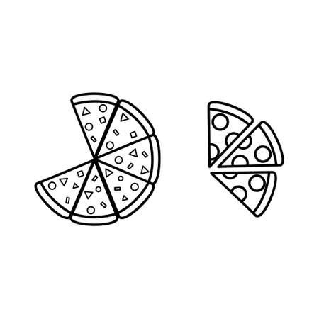 Black and white pizza line icon set. Food logo.