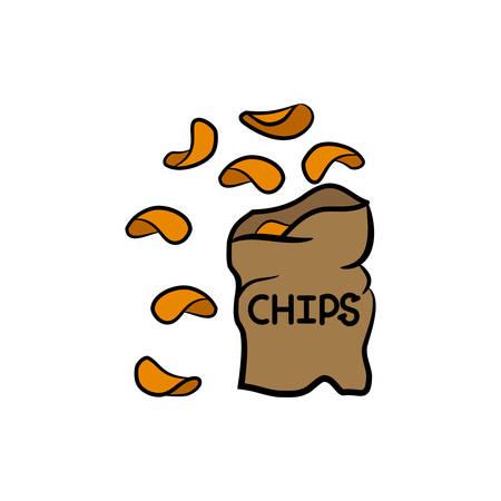 Potato chips icon. Fast food logo on white background.