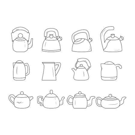Black and white kettle line icon set. Teapot logo.