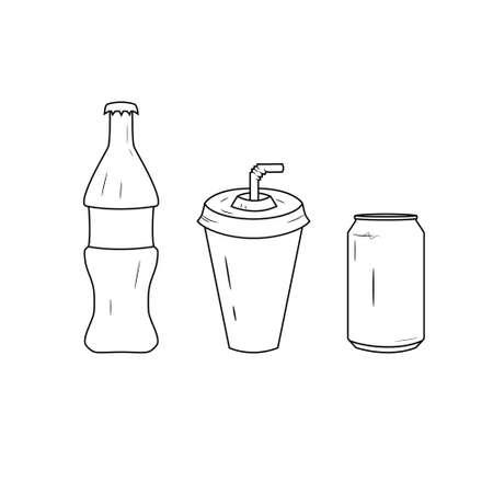 Black and white bottle and glass line icon set. Glass of juice and bottle with soda logo. Ilustração