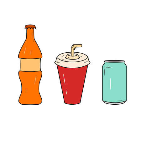 Bottle and glass of soda icon set. Glass of juice and bottle with soda logo.