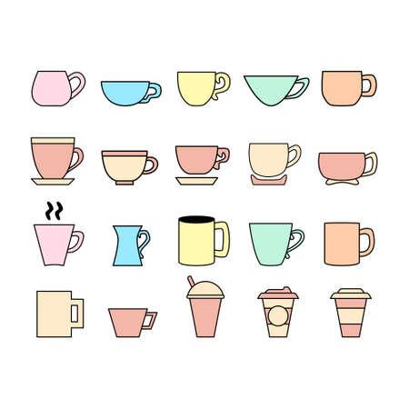 Cup icon set. Mug logo.