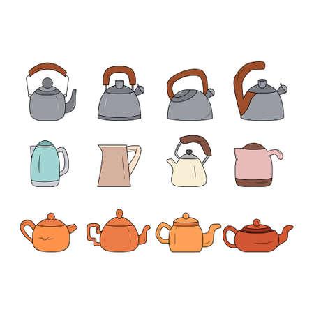 Kettle icon set. Teapot logo. Ilustração