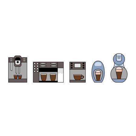 Coffee maker icon set. Coffee machine logo. Ilustração