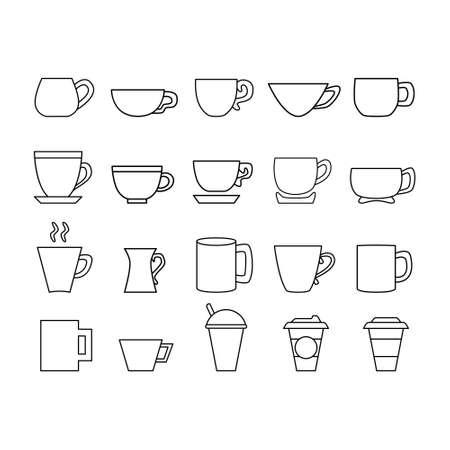 Black and white cup line icon set. Mug logo.