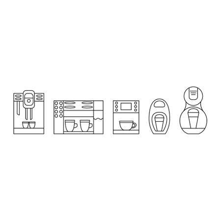 Black and white coffee maker line icon set. Coffee machine logo. Ilustração
