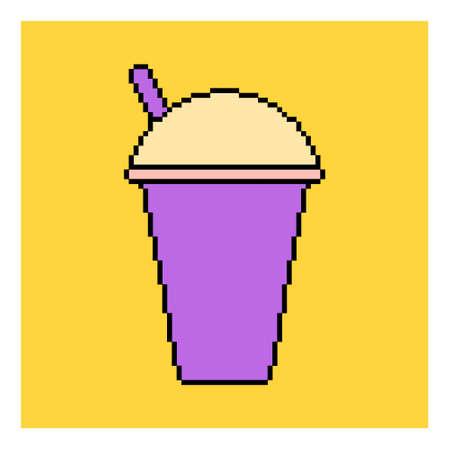 Pixel plastic glass juice to go. Cup icon. Pixelated vector illustration. Ilustração