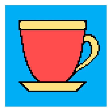 Pixel cup. Mug icon.