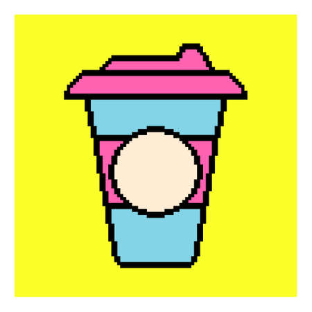 Pixel cup of coffee to go. Mug icon.